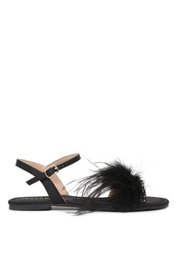 London Rag black Flo Feathers Flat Sandals 1699CSHB8EB3BCGS_1