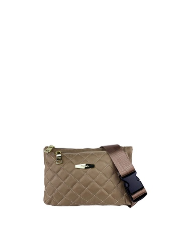 Mel&Co beige Front Quilted Nylon Waist Pouch A9D58AC855AC05GS_1