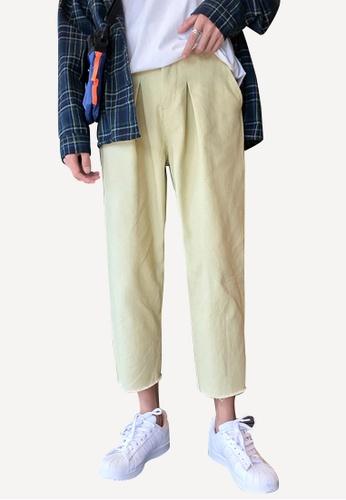 hk-ehunter beige Men's Straight Cropped Pants 307B9AA89D430BGS_1