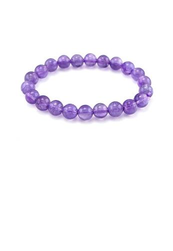 Glamorousky purple 8mm Natural Amethyst Bead Bracelet 61D6FAC3FFFFC9GS_1