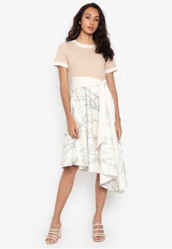 14d7a78ac625 Daria multi Striped Short Sleeve T-Shirt Midi Dress With Flared Skirt  61656AA3FEBEDCGS_1