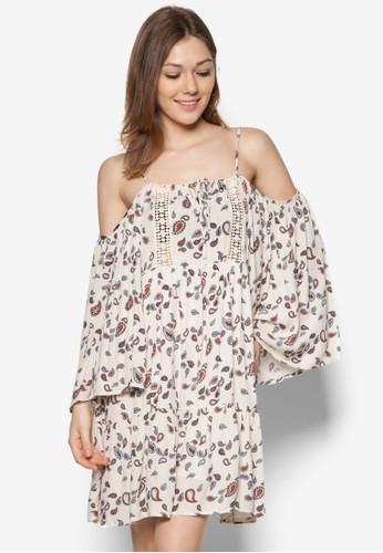 佩斯zalora 內衣利印花挖肩連身裙, 服飾, 服飾