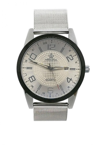 Chronomart silver Men's Business Date Display Stainless Steel Mesh Chain Strap Wrist Watch ORK-0350 B38D1AC162016BGS_1