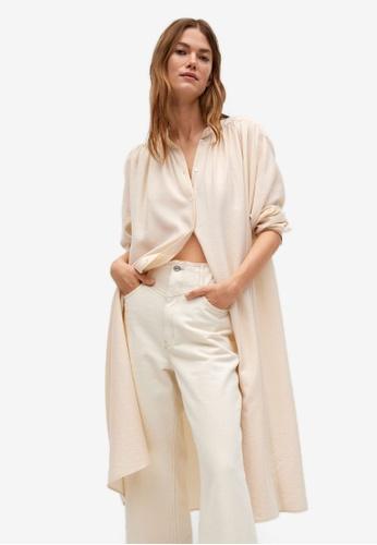 Mango beige Oversize Shirt Dress 98BD6AAFC80AFEGS_1