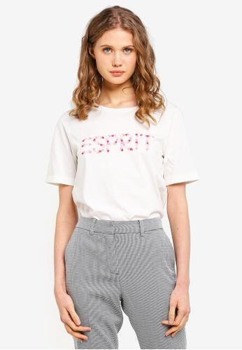ESPRIT white Short Sleeve Heart Brand Print T-Shirt 18C46AA256700DGS_1