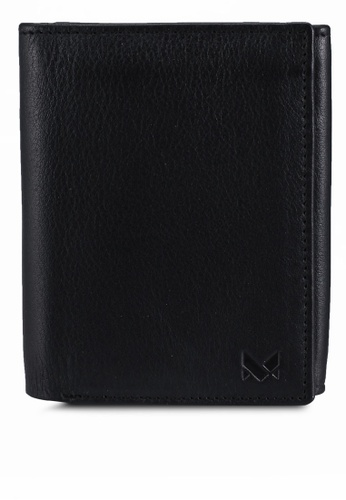 Miajee's black Minimalist Trifold Wallet Leather Handcrafted - Black 225F2ACC5493C0GS_1