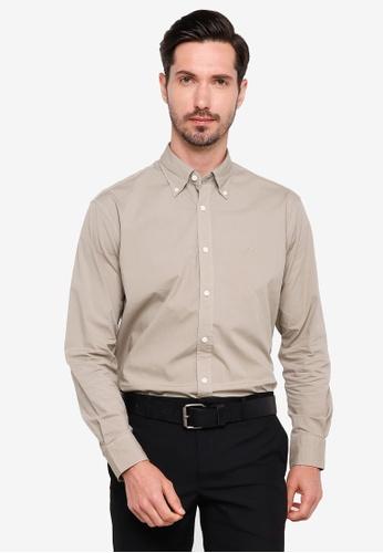 Sacoor Brothers brown Regular fit cotton elastane comfort poplin shirt in garment dye B5615AA893E88CGS_1