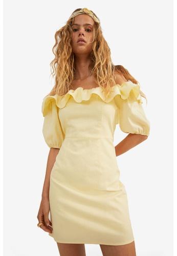 H&M yellow Off-The-Shoulder Dress 65BDEAA78E3C12GS_1