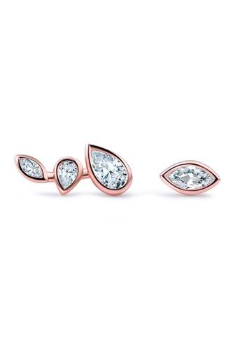 LYCKA gold LFF5217-LYCKA-S925 Siliver White Zircon Irregular Leaf Earrings-Gold 9E0D2AC177610CGS_1