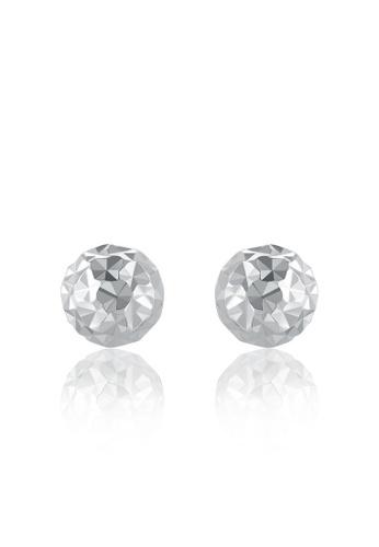 MaBelle silver 14K 585 White Gold Diamond Cut Ball Stud Earrings 24B67AC2EC920FGS_1