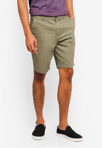 Burton Menswear London 綠色 素色休閒短褲 4551BAAB63D45CGS_1