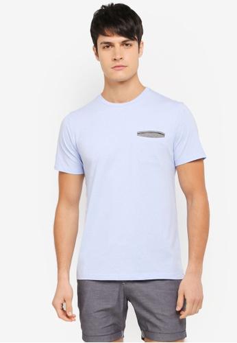 ZALORA blue Cotton Crew Neck Pocket Short Sleeve Tee 82732AA1FDF906GS_1