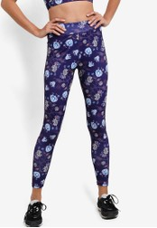 ZALORA SPORT blue and multi All-Over Print 7/8 Leggings 06415AA8D2C865GS_1