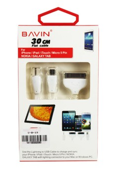 Bavin 30cm 4 in 1 Flat USB Cable
