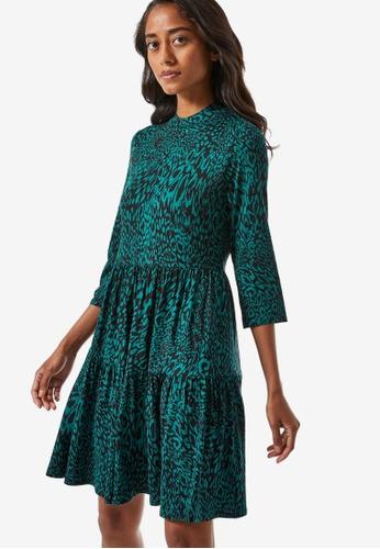 Dorothy Perkins green Petite Animal Print Jersey Dress 73008AAF94CFAAGS_1