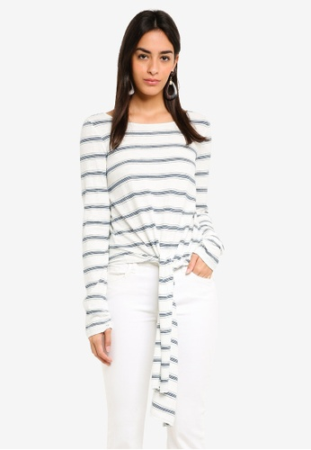 Max Studio white Knit Long Sleeve Tee With Front Tie 04650AAD0C83F2GS_1