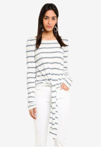 Max Studio white Knit Long Sleeve Tee With Front Tie 04650AAD0C83F2GS 1 57eeeb961