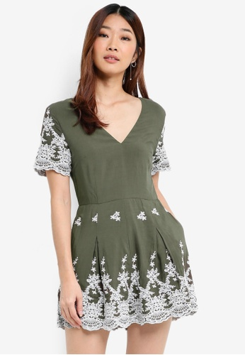 dacf8aec02a6 Shop Something Borrowed Embroidered Slit Back Romper Online on ZALORA  Philippines