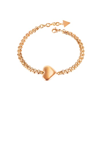 Glamorousky silver Fashion Simple Plated Rose Gold Heart Shaped 316L Stainless Steel Bracelet 0CAEDAC63A26F4GS_1