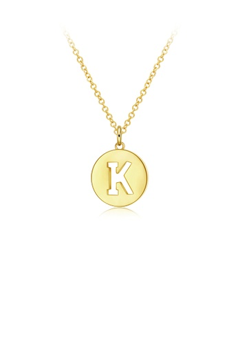 Glamorousky silver Fashion Simple Plated Gold Round Letter K Pendant with Necklace 178C7AC2A308C6GS_1
