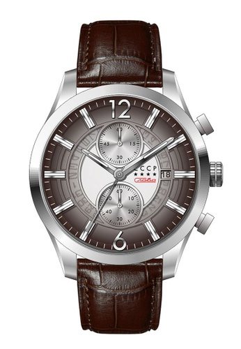 CCCP brown CCCP Men's Brown Genuine Leather Watch - CP-7038-03 FB46AAC0D576E8GS_1