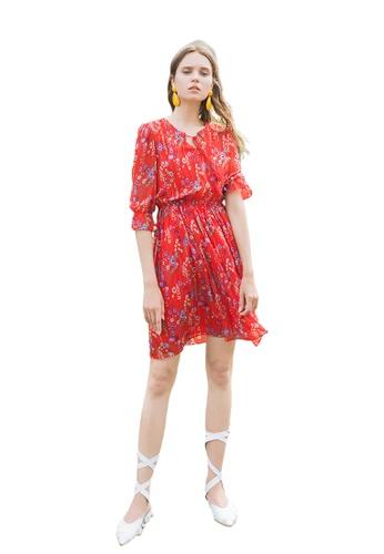 Hopeshow red Floral Slim Waist Mini Dress 900CEAA2F86ADCGS_1