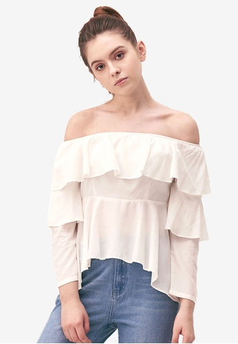 Kodz white Ruffle Layer Cropped Blouse 4995FAAF3D87D2GS_1