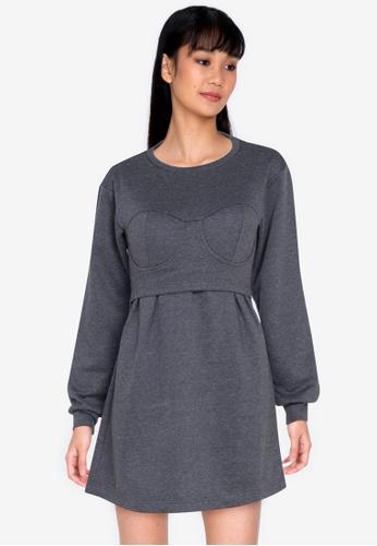 ZALORA BASICS grey Corset Detail Sweater Dress EC33CAA81EC45EGS_1