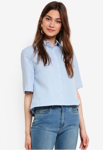 Something Borrowed blue Pleat Back Boxy Shirt 78116AA79EF8FFGS_1