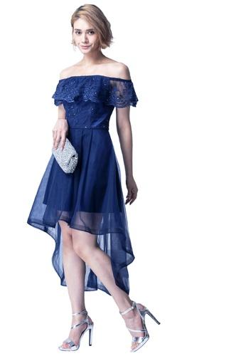 Evening by Karen Liu 海軍藍色 荷葉蕾絲落肩拼網紗前點後長禮服 2D3FEAAD24B504GS_1