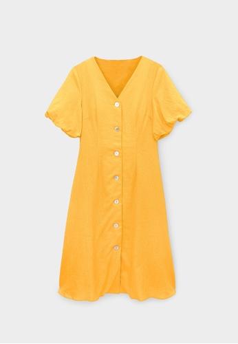 Pomelo orange Purpose Button Up V Neck Dress - Orange 1BC9BAAE9CCBDFGS_1