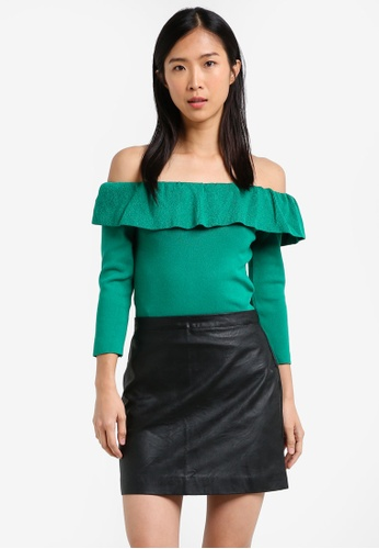 Mango green Off-Shoulder Knitted Top MA193AA0RXT7MY_1