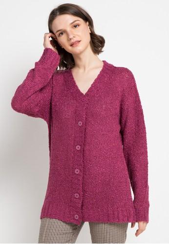 VOYANT BY MEGUMI pink Basic Cardigan Twist E195CAAF9D78C1GS_1