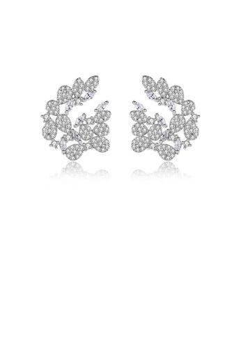 Glamorousky white Fashion and Elegant Flower Stud Earrings with Cubic Zirconia 9F457ACDD35C9FGS_1