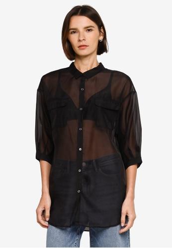 Heather black Plain Sheer Shirt 0FA39AA367BB92GS_1