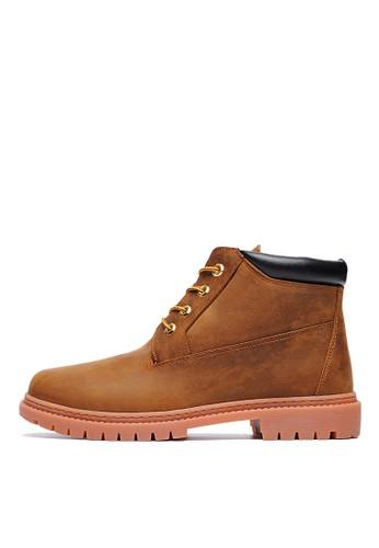 360度超彈力。MIT。瘋馬Nubesprit台灣uck牛皮雷根短靴-04759-瘋馬棕, 鞋, 靴子