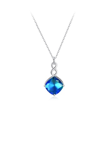 Glamorousky blue 925 Sterling Silver Simple Fashion Geometric Blue Cubic Zirconia Pendant with Necklace CBDA2AC1609033GS_1