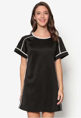 撞色滾邊直筒連身裙、 服飾、 洋裝SomethingBorrowed撞色滾邊直筒連身裙最新折價