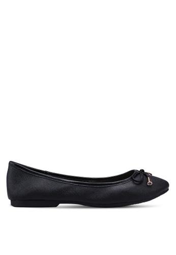 prettyFIT black Bow Leather Ballerina Flats 738C0SH3B18B09GS_1