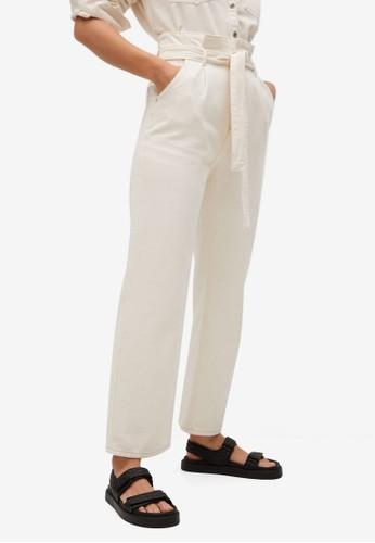 Mango beige Straight-Fit Belt Jeans DE932AA93B9313GS_1
