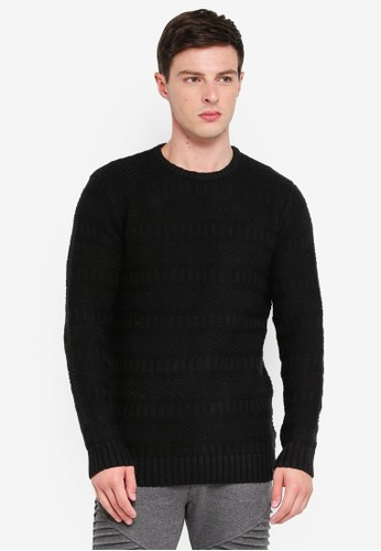 Indicode Jeans black Mohamed Patterned Knitted Sweater 9BB0EAAAD6B4FFGS_1
