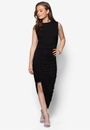 褶藝裹飾無袖長洋裝, 服飾, 晚宴zalora 折扣碼禮服