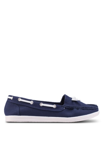 Dorothy Perkins navy Widefit Navy 'Loat' Loafers 7F655SH4973F61GS_1