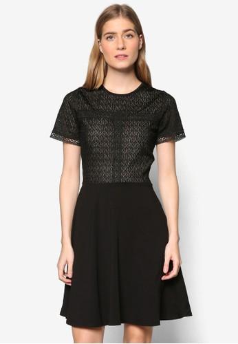 蕾絲esprit investor relations紋理短袖連身裙, 服飾, 洋裝