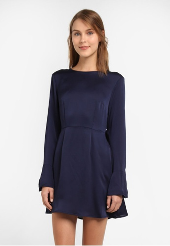 The Fifth Label blue and navy Palladium Long Sleeve Dress TH664AA0SF88MY_1