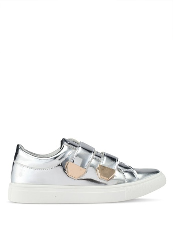 addicts anonymous silver Elizabeth Metallic Velcro Sneakers AD479SH0SR5VMY_1