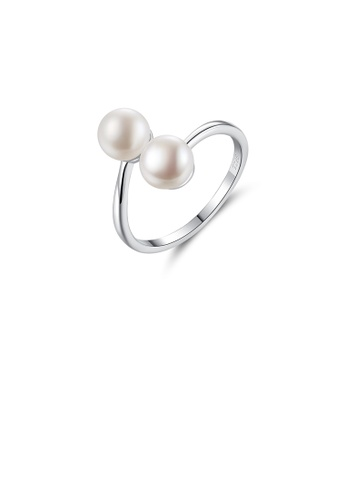 Glamorousky white 925 Sterling Silver Simple Fashion White Freshwater Pearl Adjustable Open Ring FFD76AC3564A9FGS_1