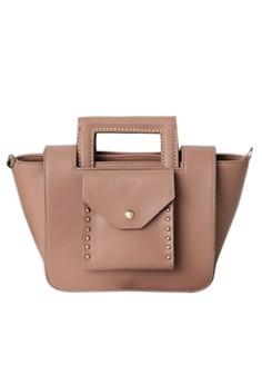 Oblique Trapeze Studded Bag