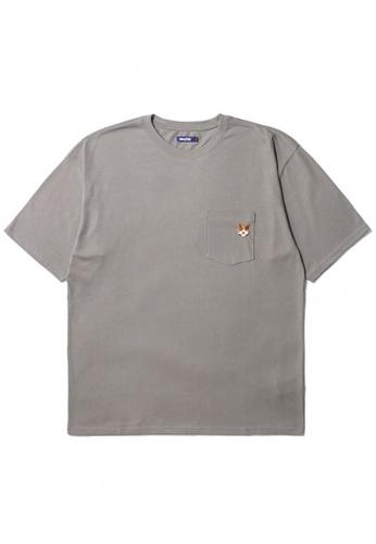 BLOCKAIT grey Akita Ken embroidery pocket tee 039D7AA5DAE663GS_1