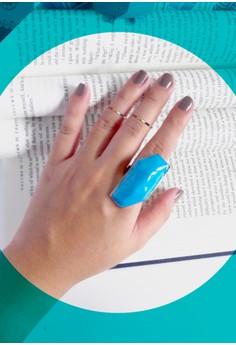 Heptagon Enamel Ring, Aqua